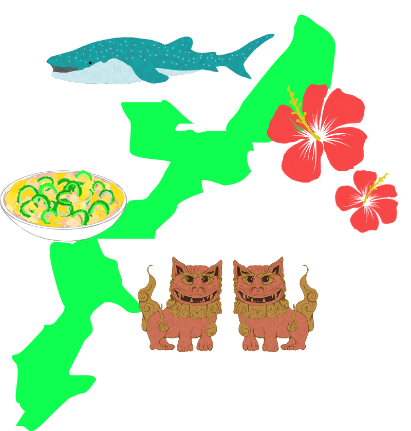 沖縄の名産と地図のイラスト
