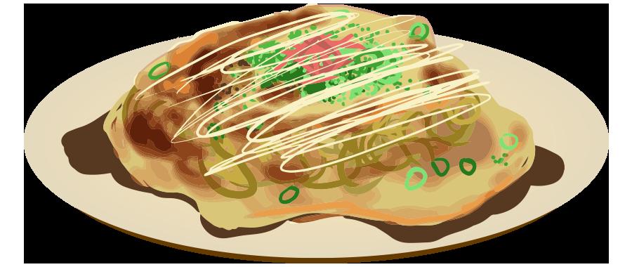 広島風お好み焼きのイラスト