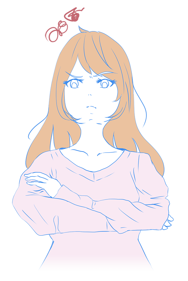 腕組みをして機嫌悪く怒る人(女性)のイラスト
