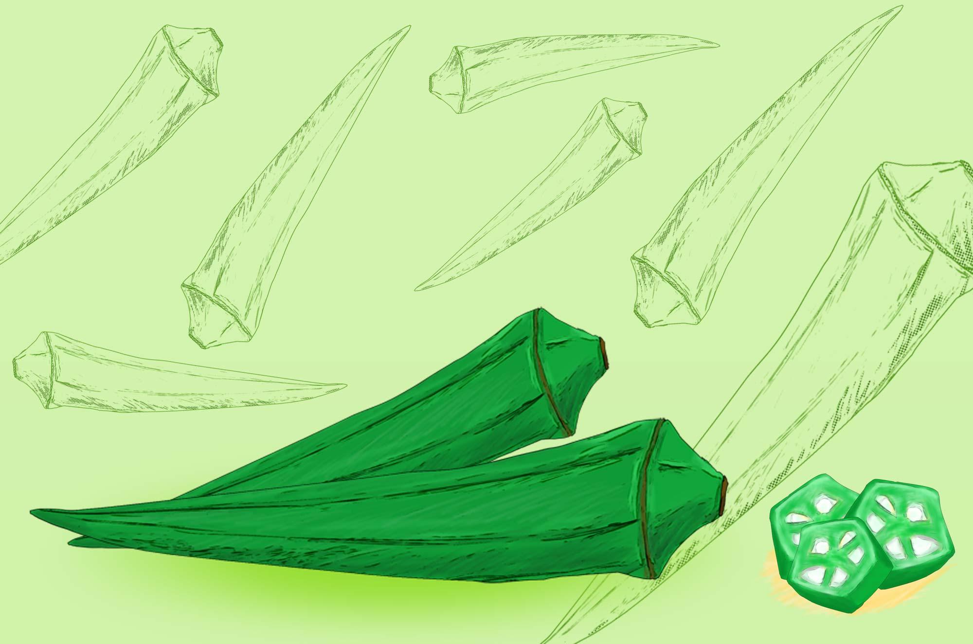 オクラのイラスト - 新鮮な手書きの野菜無料素材