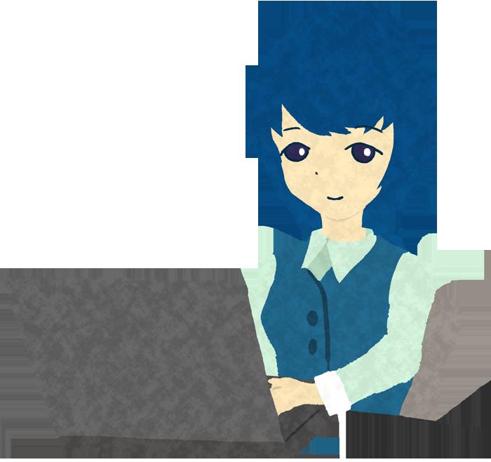 パソコンをやるOLのイラスト
