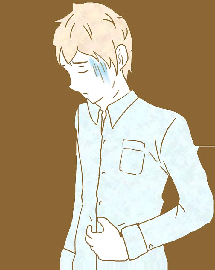 お腹の痛い人のイラスト(成人男性)