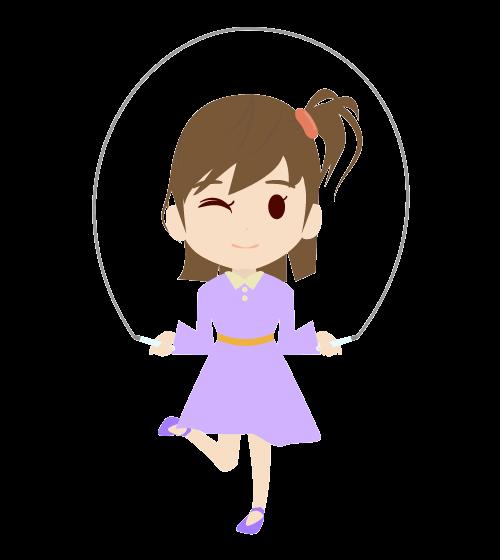 縄跳びをする女の子のフリーイラスト