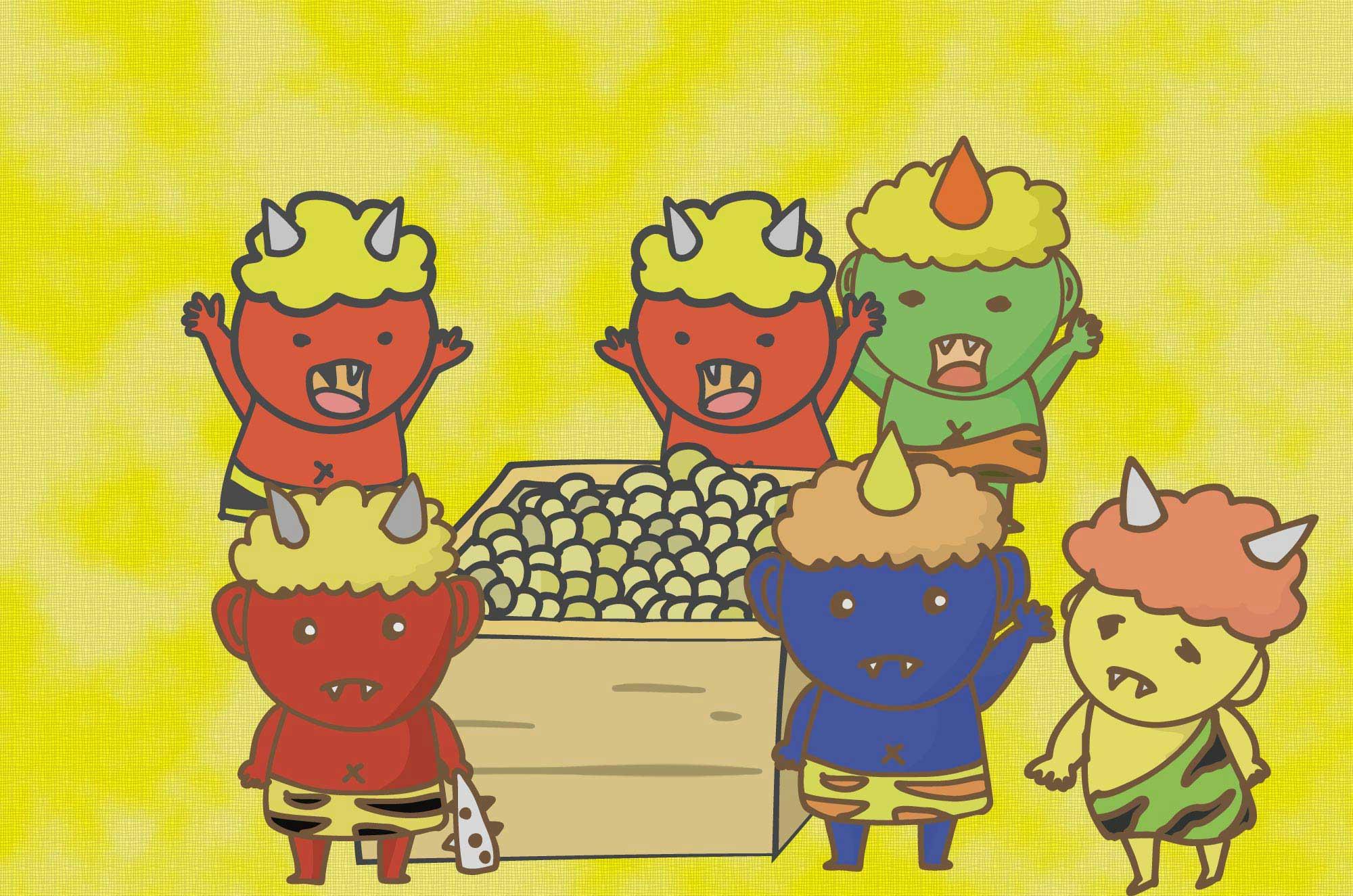 可愛い鬼と節分のイラスト - 豆まきと怖がる子供無料素材