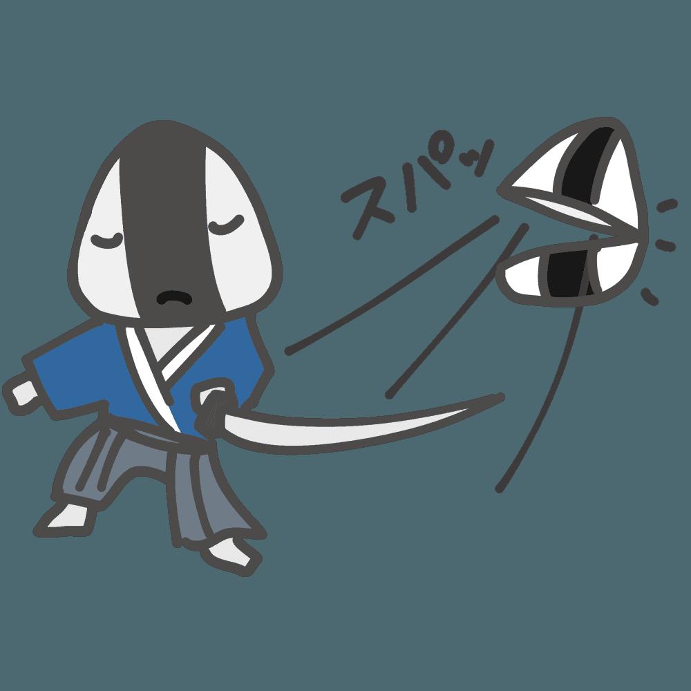 おにぎりを切るキャラクターイラスト