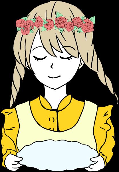 お盆を持った可愛い女の子のいイラスト(黄色)