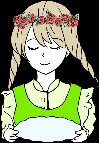 お盆を持った可愛い女の子のいイラスト(緑系)