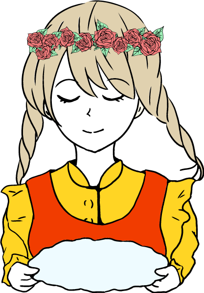 お盆を持った可愛い女の子のいイラスト(赤系)