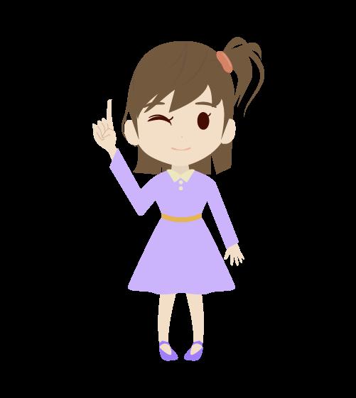 指差しする女の子のイラスト2