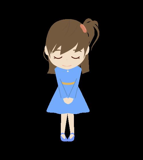お辞儀する女の子のイラスト