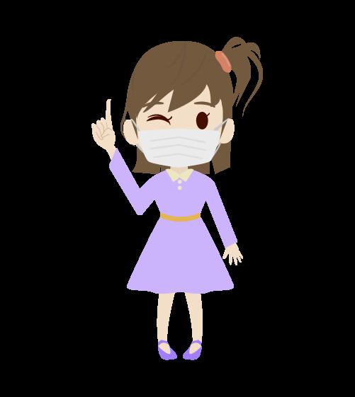 マスクする女の子のイラスト2