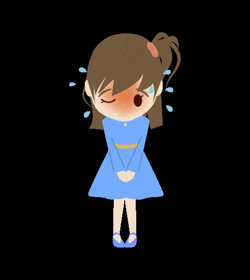 焦る女の子のイラスト