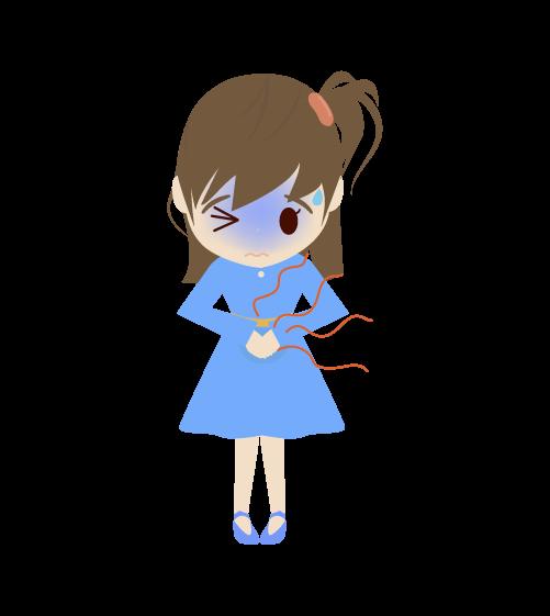 お腹が痛い女の子のイラスト