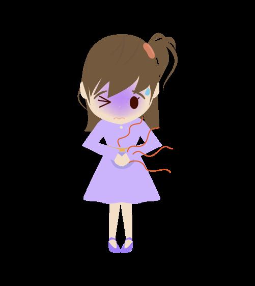 お腹が痛い女の子のイラスト2
