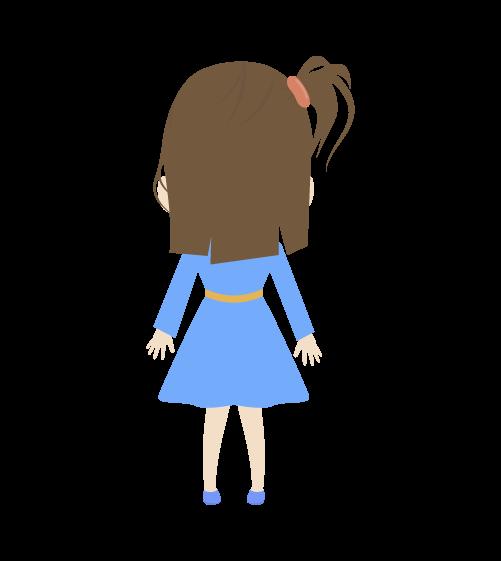 女の子(後ろ姿)のイラスト