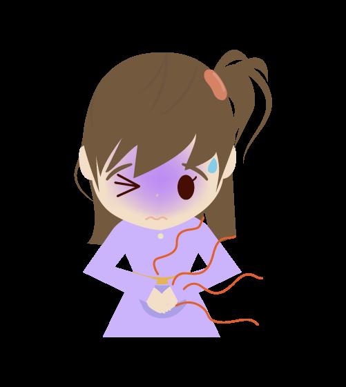 腹痛の女の子のイラスト
