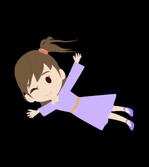飛ぶ女の子のイラスト