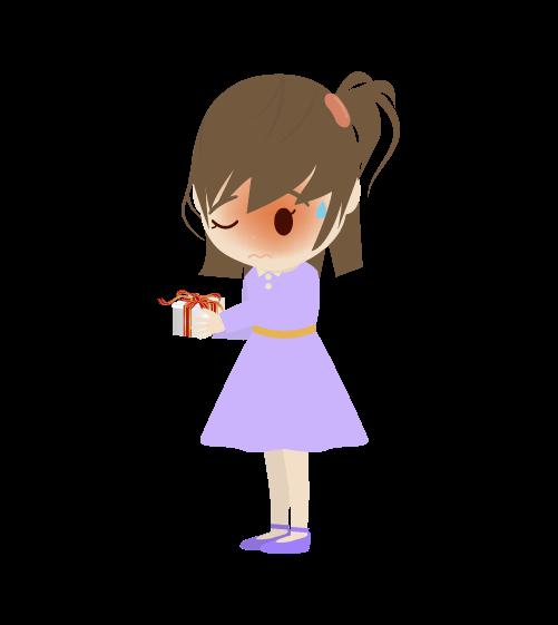 プレゼントを渡す女の子のイラスト