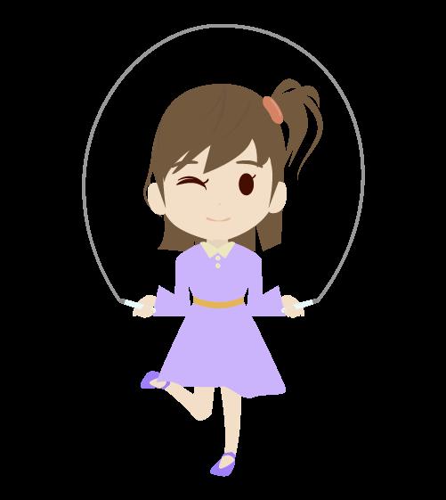 縄跳びをする女の子のイラスト