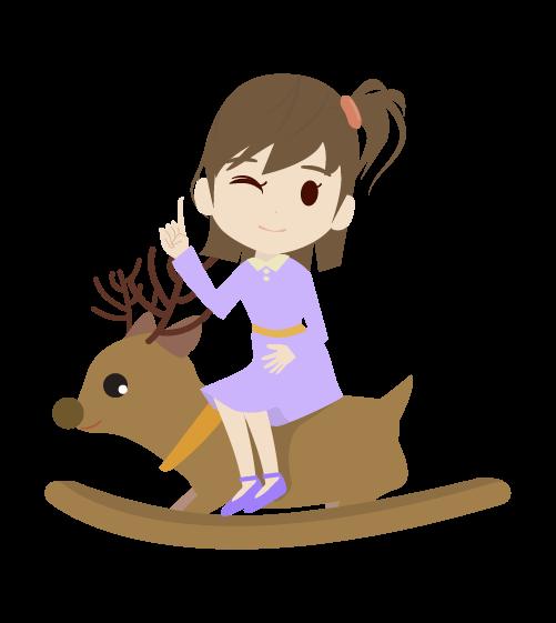 木馬に乗る女の子のイラスト