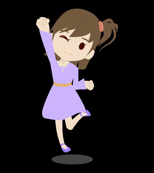 喜ぶ女の子のイラスト