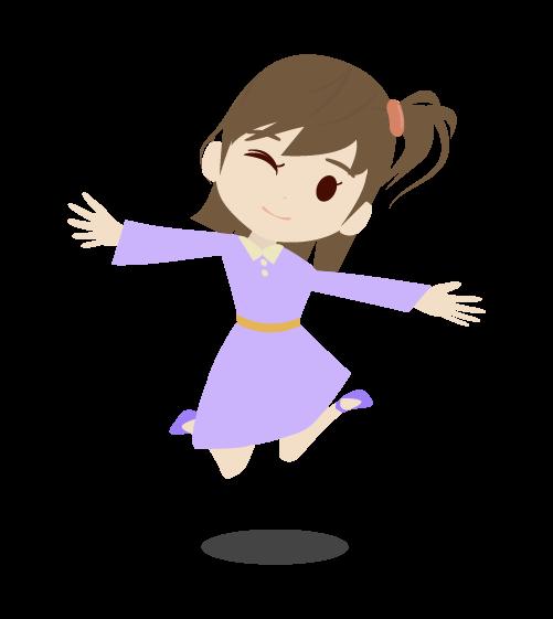 ジャンプする女の子のイラスト