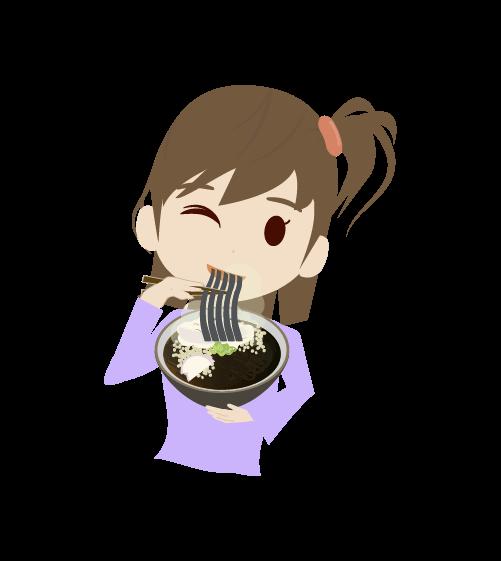 そばを食べる女の子のイラスト