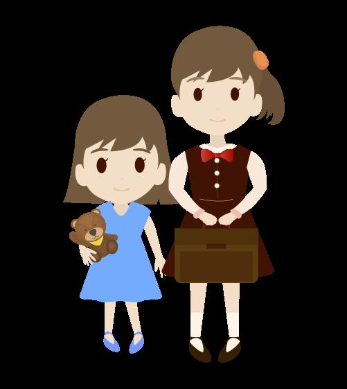 姉妹の女の子のイラスト