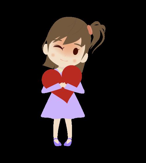 ハートを抱く女の子のイラスト