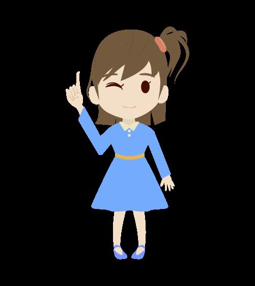 指差しする女の子のイラスト