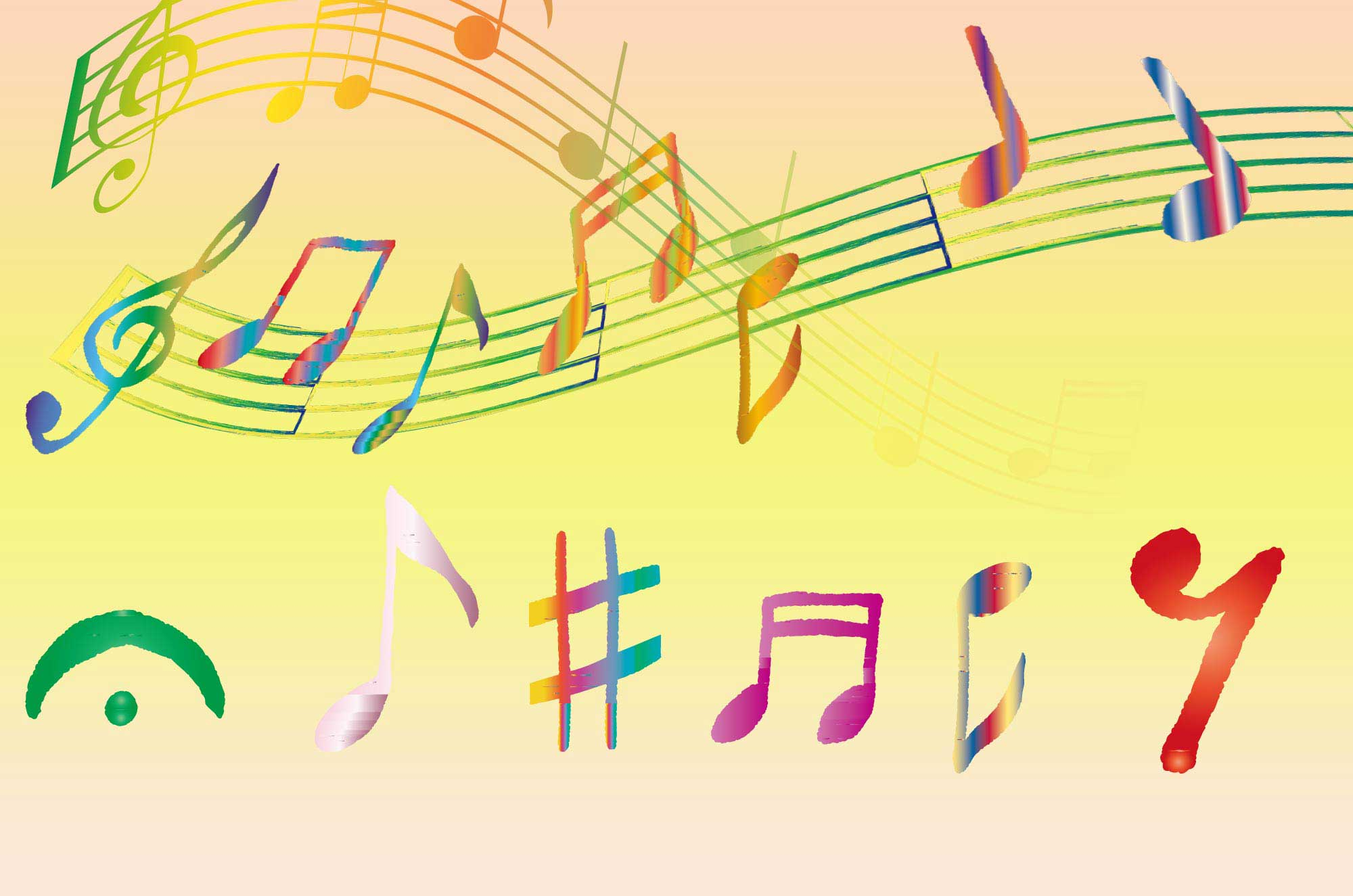 可愛い手描きの音符イラスト フリーのメロディーライン チコデザ