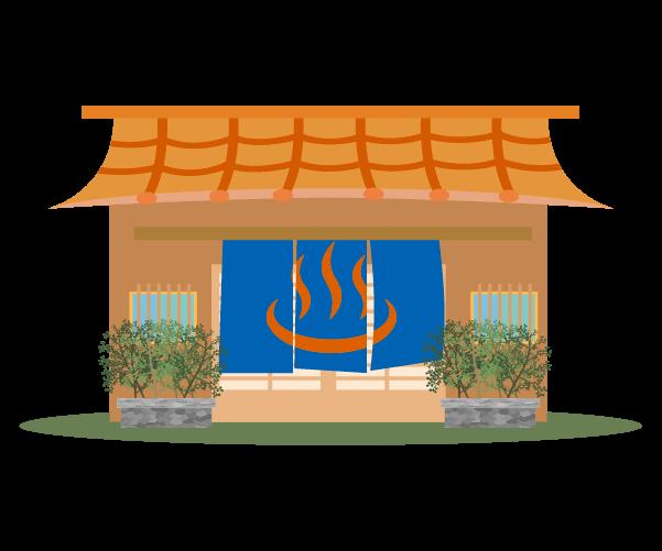 温泉の建物のイラスト