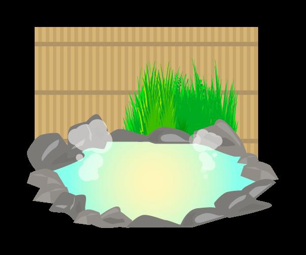 露天風呂(柵あり)のイラスト