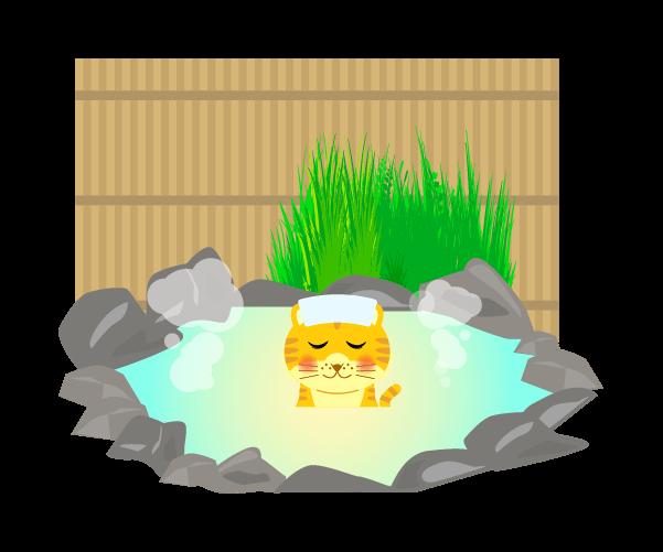温泉に入る虎(柵あり)のイラスト
