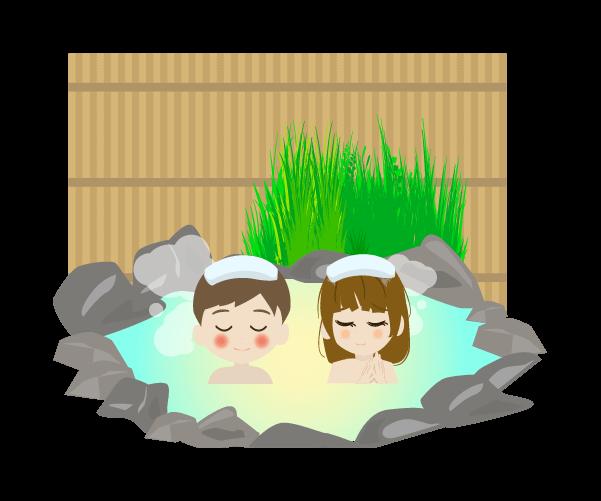 男女混浴の温泉のイラスト