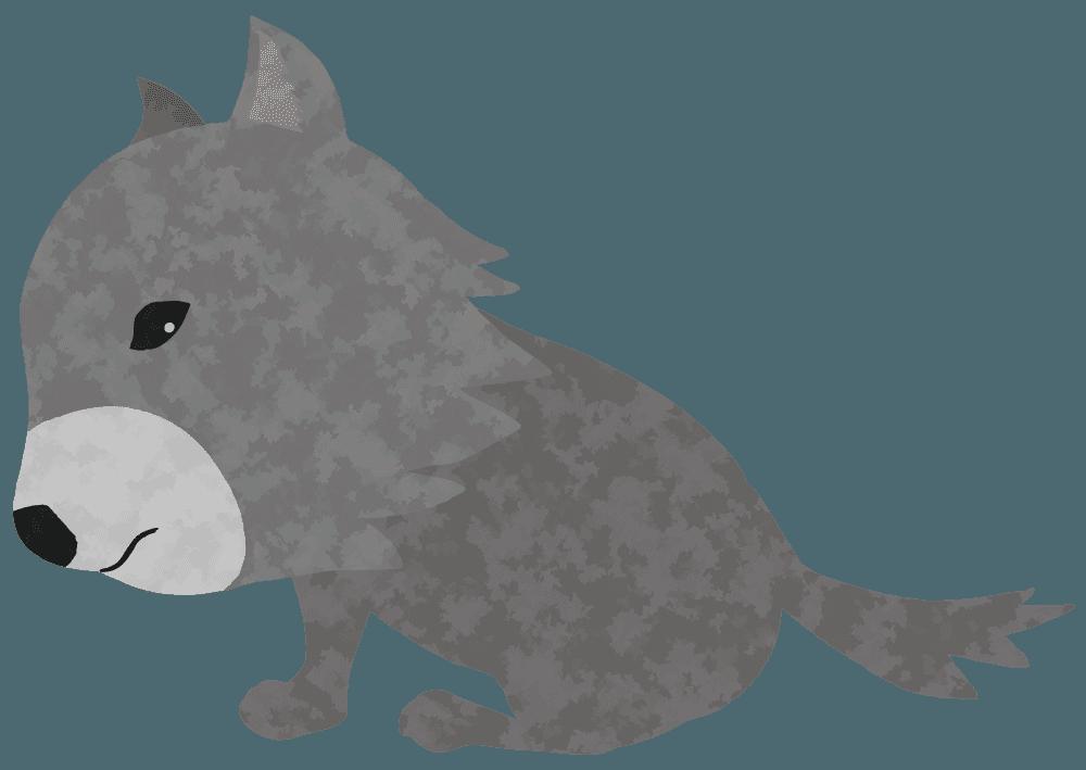 座り込む狼のイラスト