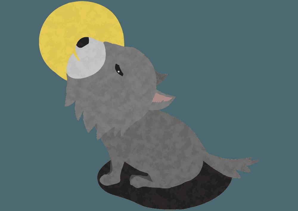 遠吠えをする可愛い狼のイラスト