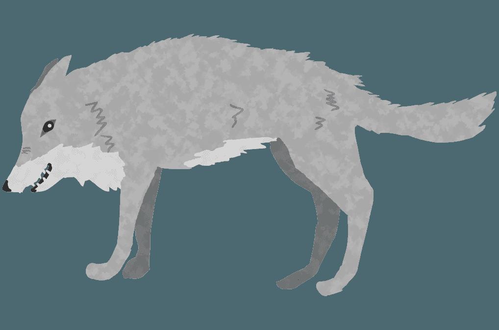 怒って毛を逆だてる狼のイラスト