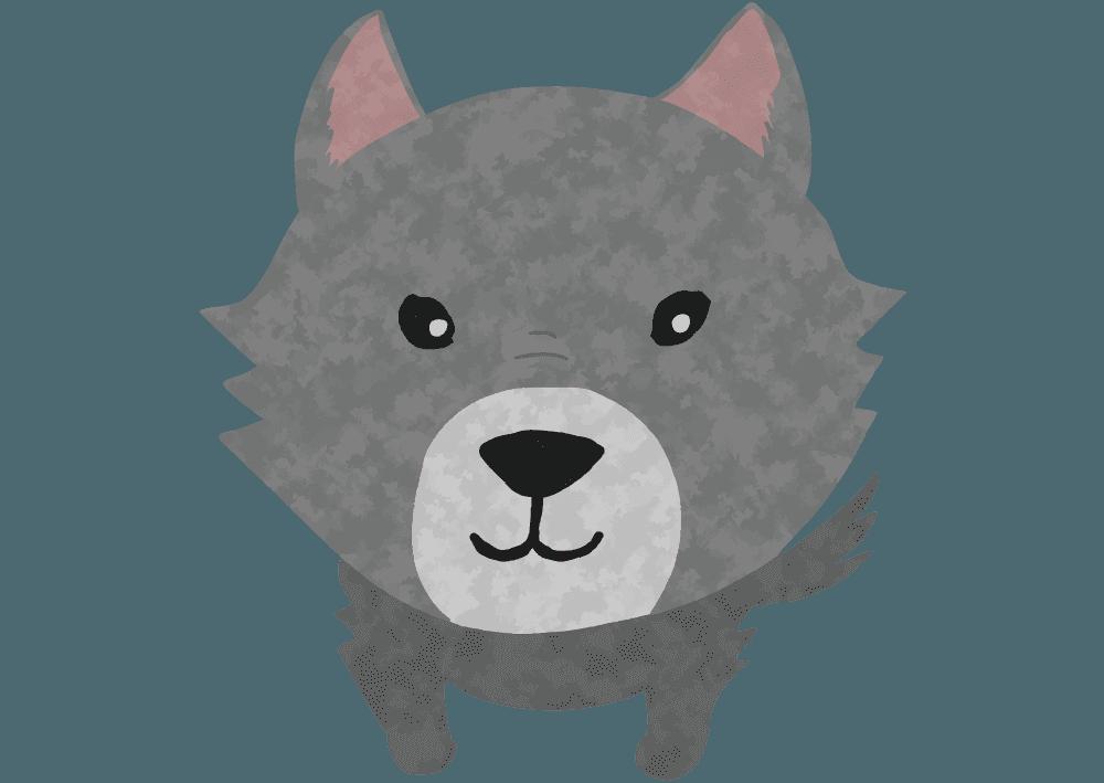 正面からみた可愛い狼のイラスト