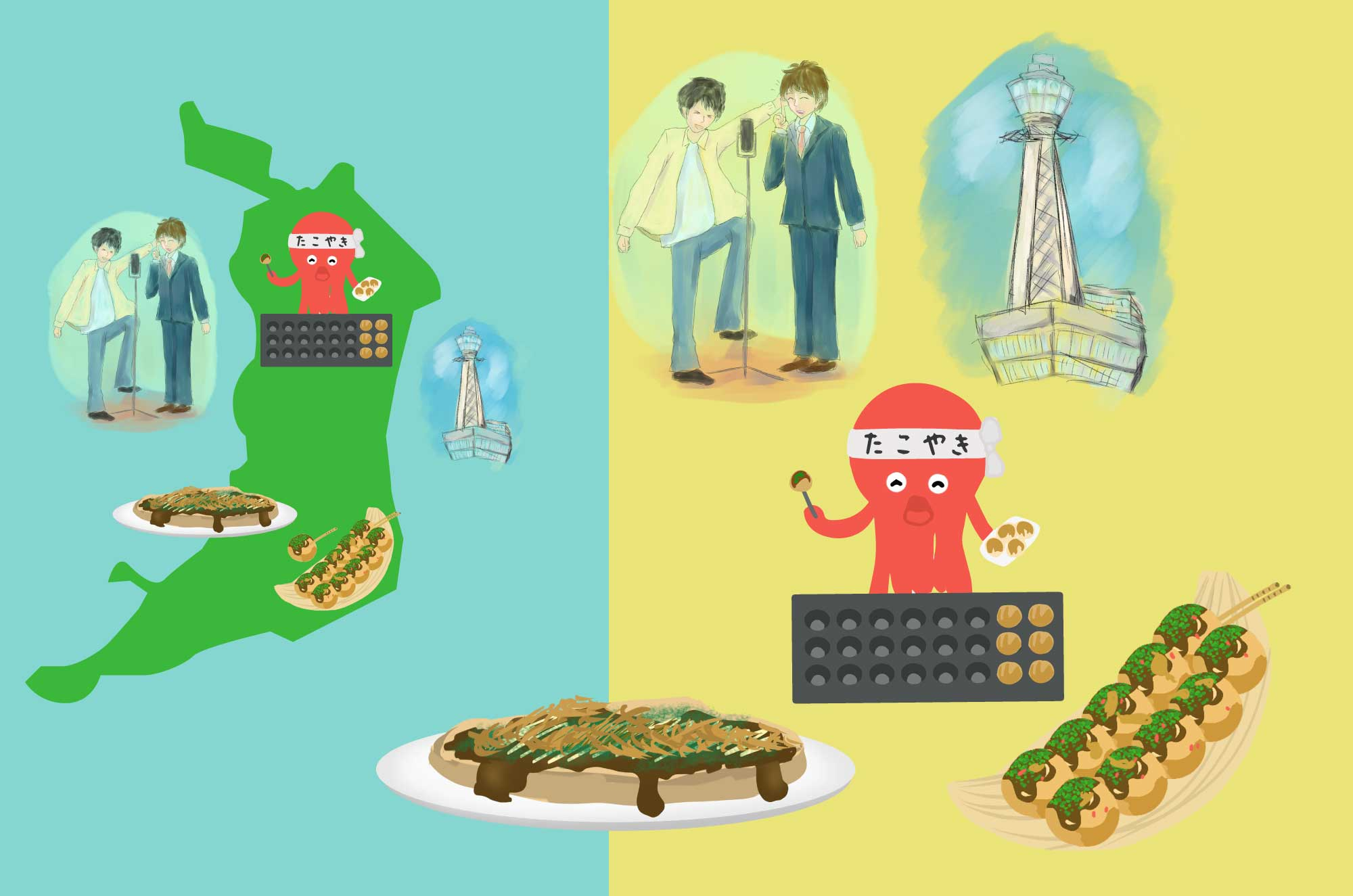 大阪の無料イラスト - たこ焼き・通天閣の地域素材