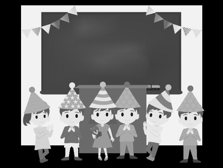 教壇の前に集まる子供達(白黒)のイラスト