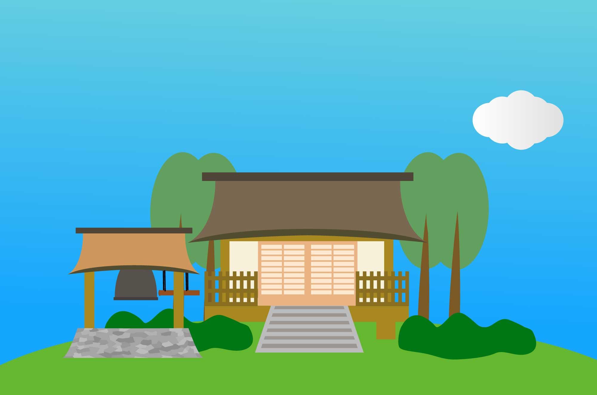 お寺の無料イラスト - 日本の建物イラスト素材