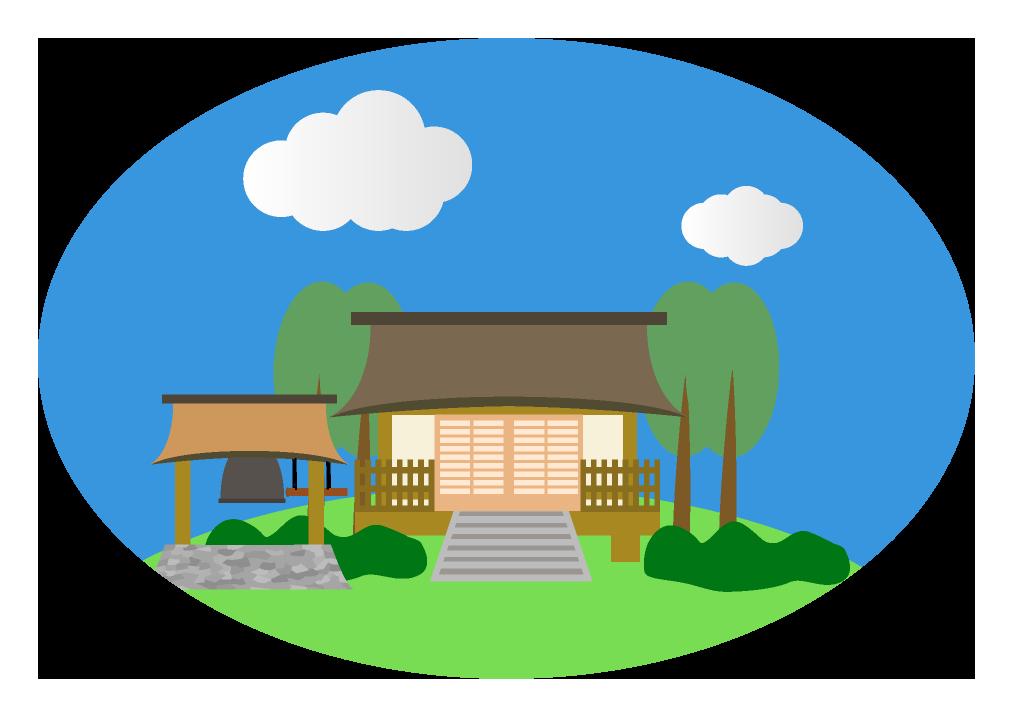 お寺のイラスト(背景付きアイコン風)