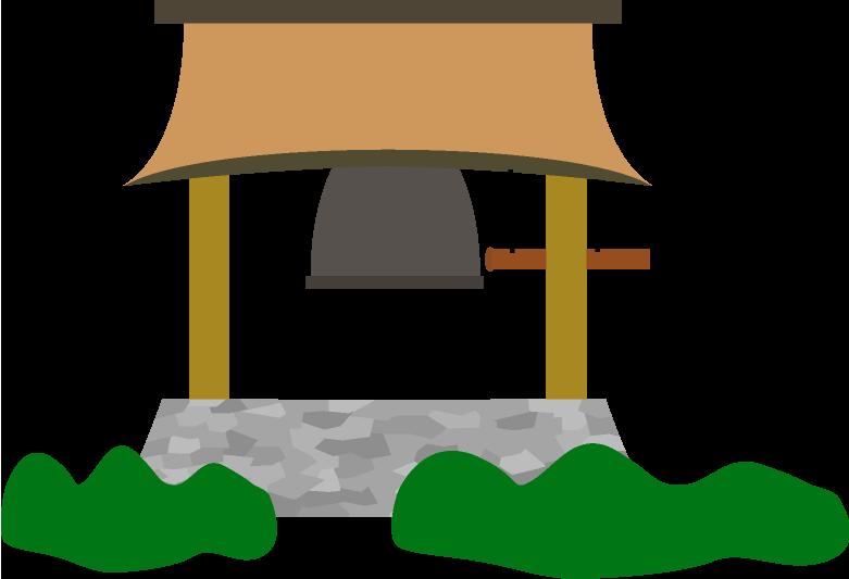 お寺の鐘のイラスト
