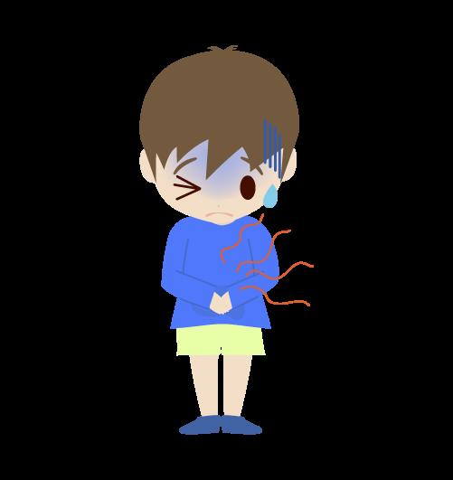 お腹が痛い男の子のイラスト