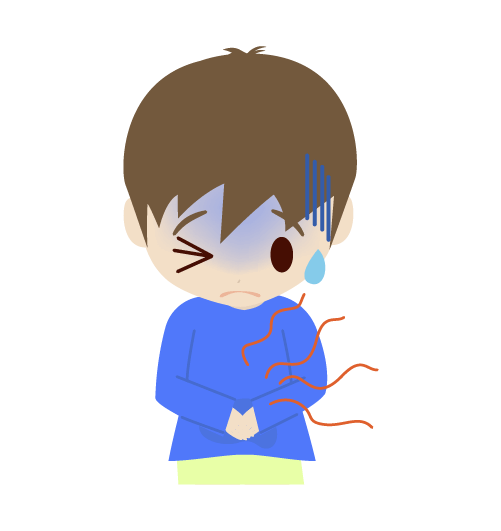 腹痛の男の子のイラスト