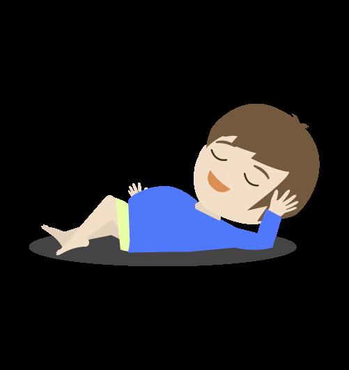 寝っ転がる男の子のイラスト