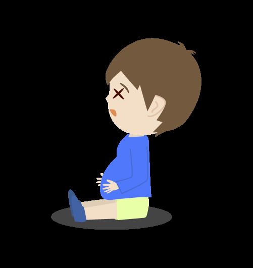お腹いっぱいの男の子のイラスト