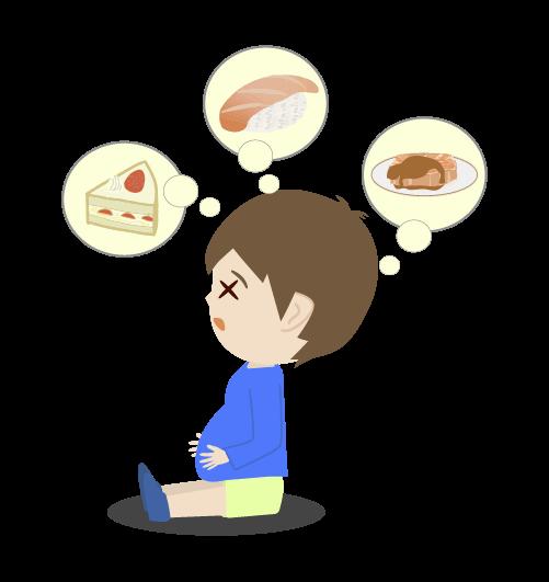 食べ過ぎ男の子のイラスト