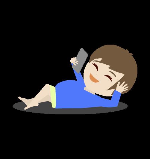 スマホをみながら笑う男の子のイラスト